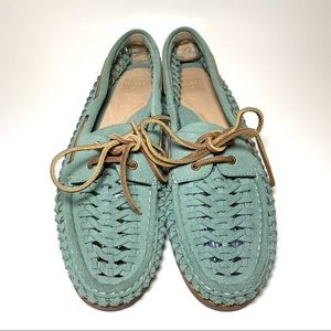 New Frye Quincy Woven Boat Moccasin Turquoise 10